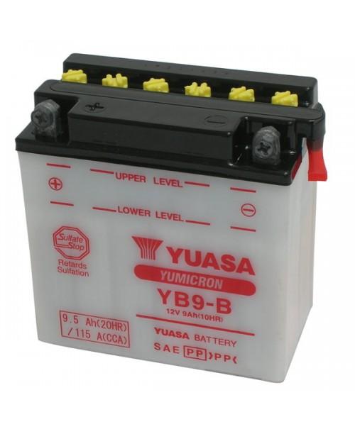 Аккумулятор YB9-B YUASA YB9-B 9Ah, 115CCA, 0,6 LITR ACID, 3,1 KG ОБЩИЙ ВЕС,  135x75x139 +/-