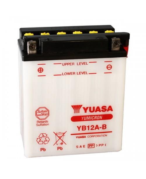 Аккумулятор YB12A-B YUASA YB12A-BS 12Ah, 150CCA, 0,75 LITR ACID, 4,0 KG ОБЩИЙ ВЕС,  134x80x160 +/-