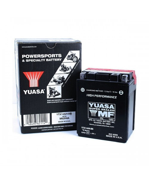 Аккумулятор YTX14AH-BS YUASA YTX14AH-BS 12Ah, 210CCA, 0,66LITR ACID, 5,3 KG ОБЩИЙ ВЕС, 134x89x166 +/-
