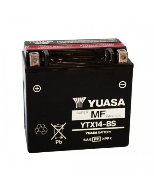Аккумулятор YTX14-BS YUASA YTX14-BS  12Ah, 200CCA, 0,69LITR ACID, 4,6 KG ОБЩИЙ ВЕС, 150x87x145 +/-
