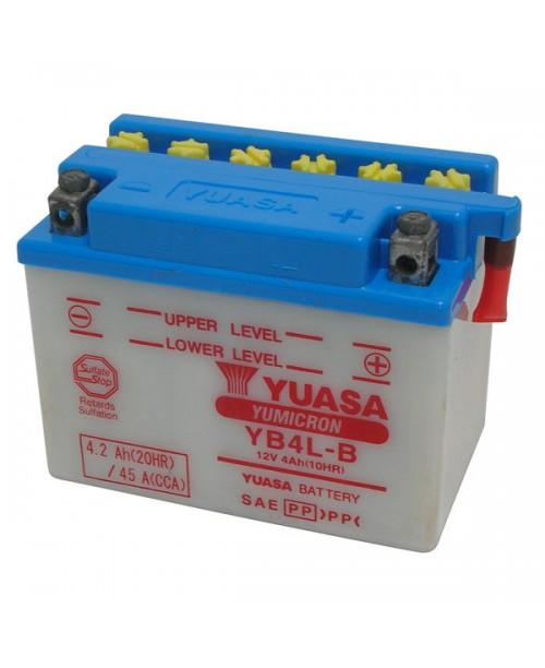 Аккумулятор YB4L-B YUASA YB4L-B 4Ah, 45CCA, 0,3 LITR ACID, 1,5 KG ОБЩИЙ ВЕС,  120x70x92 -/+
