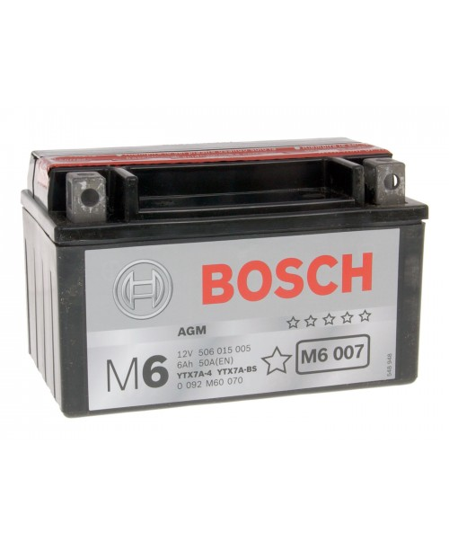 Аккумулятор YTX7A-BS Bosch YTX7A-BS 6Ah, 105CCA, 0,33 LITR ACID, 2,6 KG ОБЩИЙ ВЕС, 150x87x94 +/-