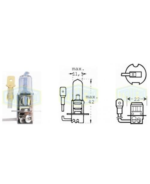 Лампа H3 12V 55W (с проводом)  socket PK22s