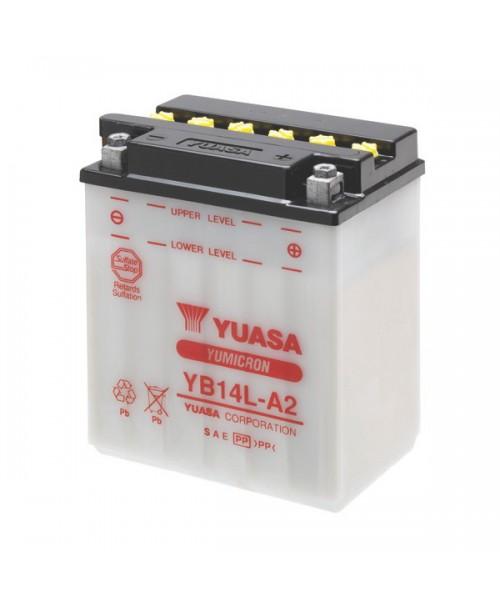 Аккумулятор YB14L-A2 YUASA YB14L-A2 14Ah, 175CCA, 0,9 LITR ACID, 4,6 KG ОБЩИЙ ВЕС, 134x89x166 -/+