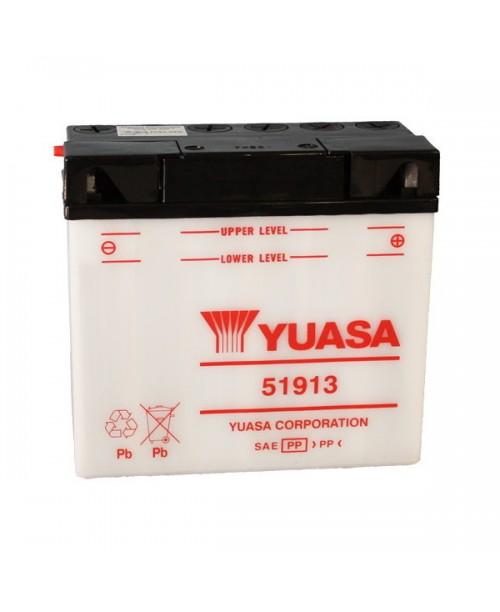 Аккумулятор 51913 YUASA 51913 19Ah, 100CCA, 1 LITR ACID, 5,6 KG ОБЩИЙ ВЕС,  186x82x171 -/+
