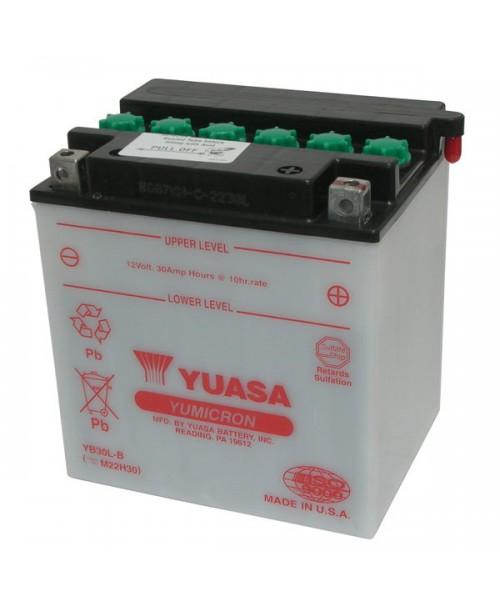 Аккумулятор YB30CL-B YUASA YB30CL-B 30Ah, 300CCA, 1,7 LITR ACID, 8,5 KG ОБЩИЙ ВЕС, 168x132x192 -/+