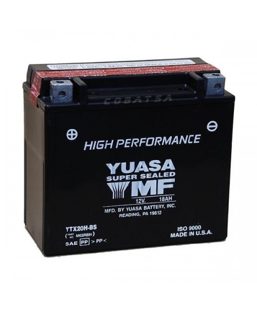 Аккумулятор YTX20H-BS YUASA YTX20H-BS 18Ah, 310CCA, 0,93LITR ACID, 6,3 KG ОБЩИЙ ВЕС, 175x87x155 +/-