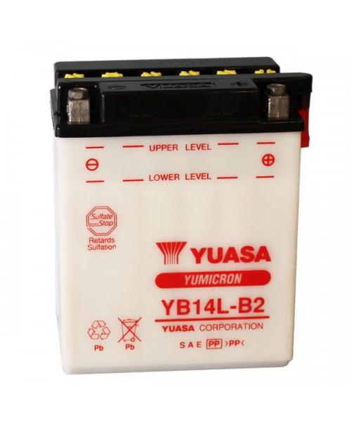 Аккумулятор YB14L-B2 YUASA YB14L-B2 14Ah, 175CCA, 0,9 LITR ACID, 4,6 KG ОБЩИЙ ВЕС, 134x89x166 -/+