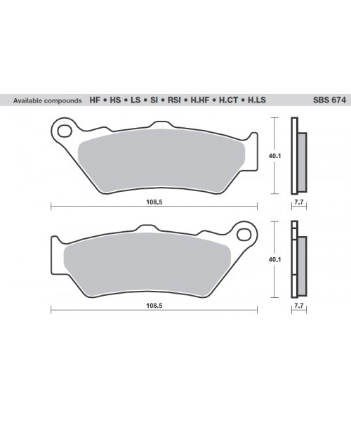 Тормозные колодки SBS 674HF органика 674HF | VM P10742 | CL 2396, 2117