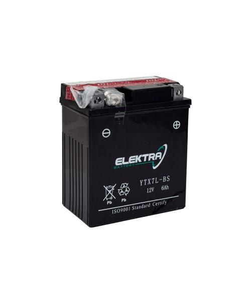Аккумулятор YTX7L-BS ELEKTRA YTX7L-BS 6Ah, 100CCA, 0,33LITR ACID, 2,5 KG ОБЩИЙ ВЕС, 114x71x131 -/+