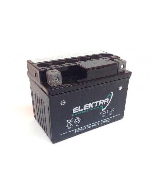 Аккумулятор YTX4L-BS ELEKTRA YTX4L-BS 3Ah, 50CCA, 0,18 LITR ACID, 1,4 KG ОБЩИЙ ВЕС,  114x71x86 -/+