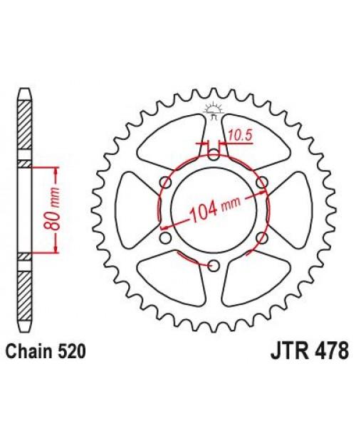 Звезда приводная задняя Kawasaki JTR478.43ZBK 478 43