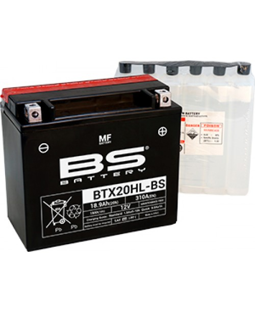 Аккумулятор YTX20HL-BS BS BATTERY 18Ah, 310CCA, 0,93LITR ACID, 6,3 KG ОБЩИЙ ВЕС, 175x87x155 -/+