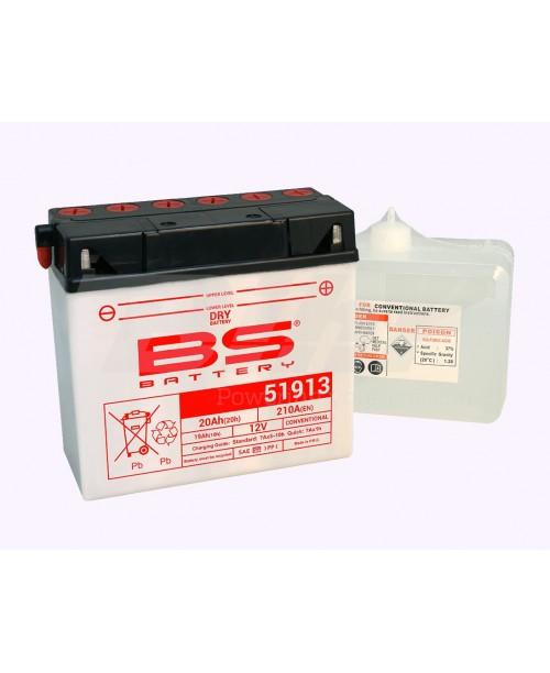 Аккумулятор 51913 BS BATTERY 51913 19Ah, 100CCA, 1 LITR ACID, 5,6 KG ОБЩИЙ ВЕС,  186x82x171 -/+