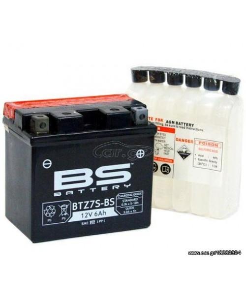 Аккумулятор TTZ7S BS BATTERY BS-BTZ7S-BS 6Ah, 130CCA, 2,1 KG ОБЩИЙ ВЕС, 113x70x105 -/+