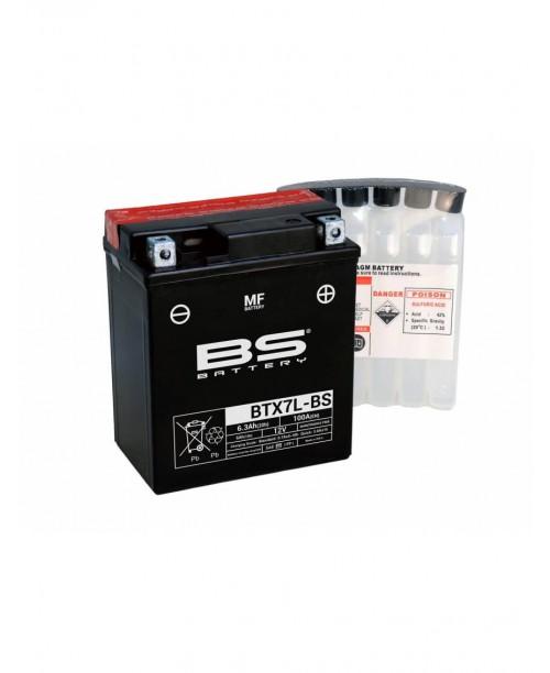 Аккумулятор YTX7L-BS BS BATTERY BS-BTX7L-BS 6Ah, 100CCA, 0,33LITR ACID, 2,5 KG ОБЩИЙ ВЕС, 114x71x131 -/+