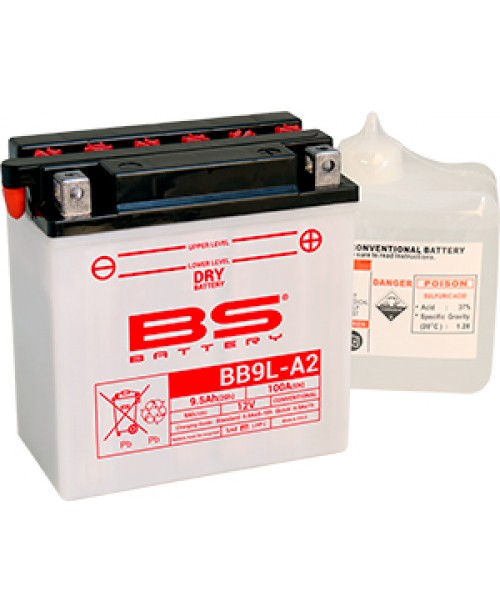 Аккумулятор YB9L-A2 BS BATTERY BS-BB9L-A2 135x75x139 +/-  12N9-3B