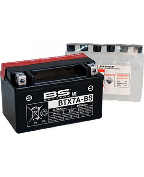 Аккумулятор YTX7A-BS BS BATTERY BS-BTX7A-BS 6Ah, 105CCA, 0,33 LITR ACID, 2,6 KG ОБЩИЙ ВЕС, 150x87x94 +/-