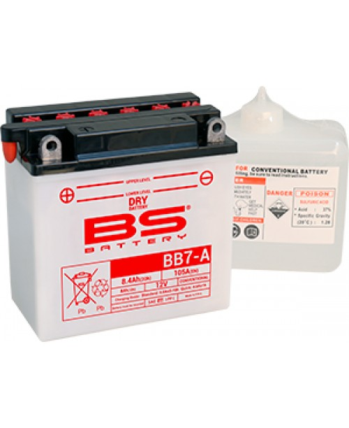 Аккумулятор YB7A BS BATTERY BS-BB7-A  135x75x133   аналог  YTX7E-BS,  12N7-3B 12N7b-4B