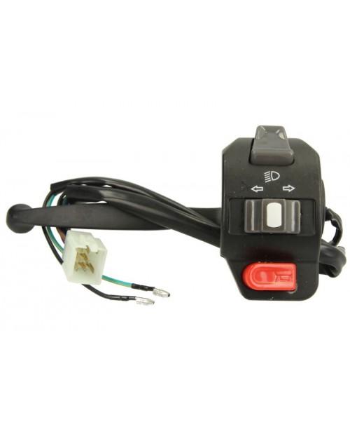 Блок руля электрический левый скутер GY6 с рычагом тормоза в сборе