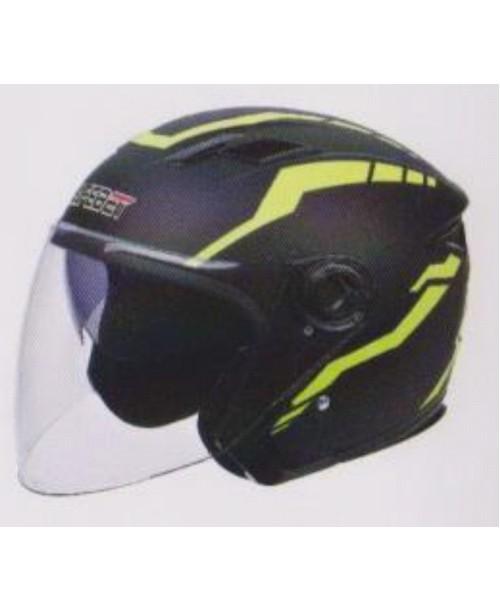 Шлем SAFEBET HF-223 скутерный  с очками черный мат J36-Y  разм M