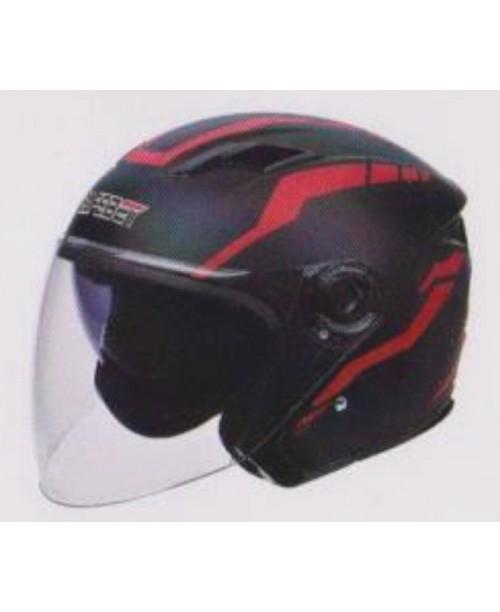 Шлем SAFEBET HF-223 скутерный  с очками черный мат J36-R разм L