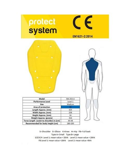 Защита спины PRO-TEC SW-253-A YELLOW S (380MM)