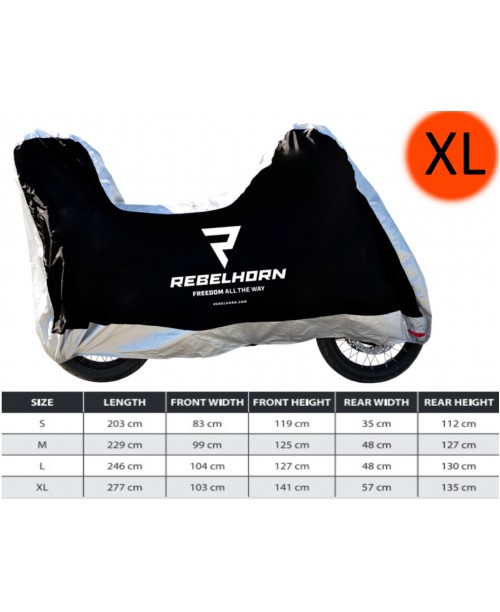 Накидка для мотоцикла с кофром Rebelhorn Motorcycle Cover Top Box Black/Silver size XL
