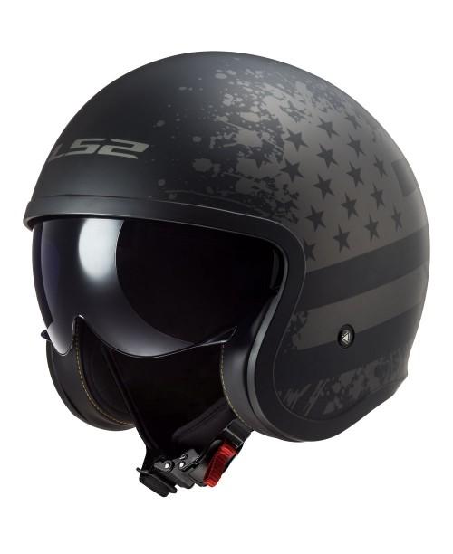 Шлем LS2 SPIT FIRE US FLAG цвет черный