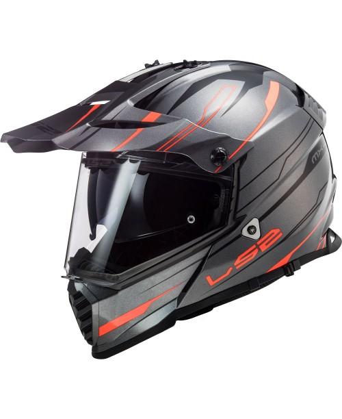 Шлем LS2 Pioneer EVO Knight Titanium цвет оранжевый